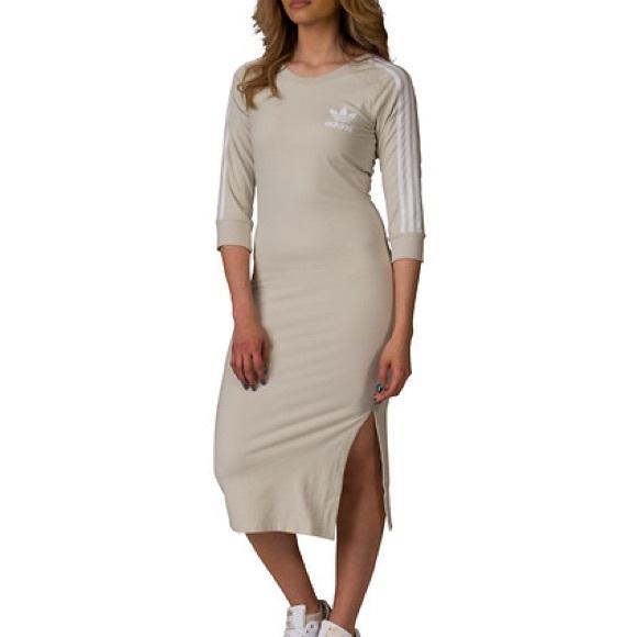 3abc9e67f7 adidas • 3 striped midi dress